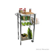 Mind Reader Glass Top Mobile Kitchen Cart, Silver (GLASSTCART-SIL)