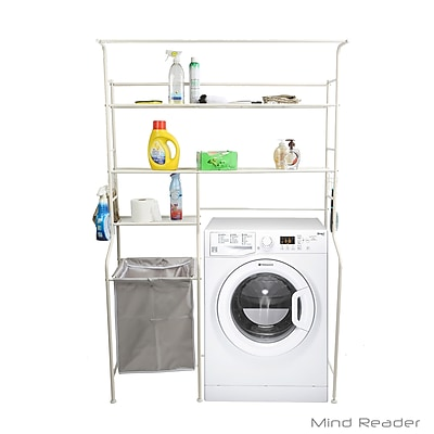 Mind Reader Metal Long Washing Machine Shelf and Rack with 4 Hooks, White (LGWRACK-WHT)