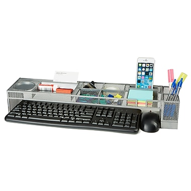 Mind Reader Metal Desk Organizer with USB Ports, Silver (METDESKORG-SIL)