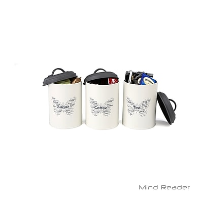 Mind Reader 3 Piece Sugar, Tea, Coffee Metal Canister Set, White (STCAN3-WHT)