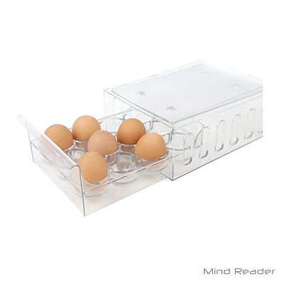 Mind Reader Stackable One Dozen Egg Container Storage Drawer Clear (STEGG12-CLR)