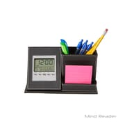 Mind Reader 3 Compartment With Clock Desk Organizer, Black (CLOCKORG-BLK)