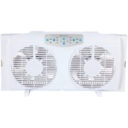 "Optimus 8"" Reversible Twin Window Fan With Thermostat, F-5286 (OPSF5286DS)"