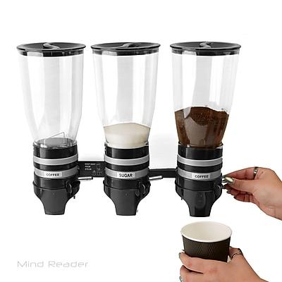 Mind Reader Metal Triple Wall Mounted Coffee and Sugar Dispenser, Black (HPD3-BLK)