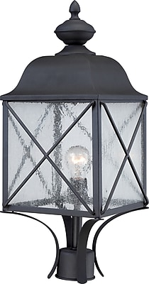 Satco Incandescent 1-Light Textured Black Post Light with Clear Seed Glass Shade (STL-SAT656255)