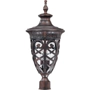 Satco Incandescent 3-Light Dark Plum Bronze Post Light with Clear Seeded Glass Shades (STL-SAT620607)