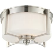 Satco Incandescent 2-Light Brushed Nickel Flush Mount with Satin White Glass Shades (STL-SAT647116)