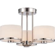 Satco Halogen 3-Light Polished Nickel Semi-Flush Mount with Etched Opal Glass Shades (STL-SAT654770)