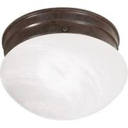 Satco Incandescent 1-Light Old Bronze Flush Mount with Alabaster Mushroom Glass Shade (STL-SAT766701)