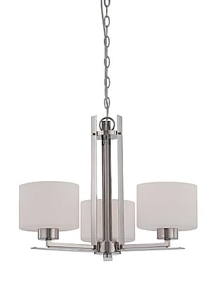 Satco Incandescent 3-Light Polished Nickel Chandelier with Etched Opal Glass Shades (STL-SAT652066)