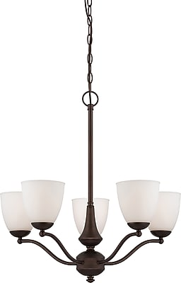 Satco Incandescent 5-Light Prairie Bronze Chandelier with Frosted Glass Shades (STL-SAT651359)