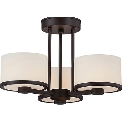 Satco Halogen 3-Light Venetian Bronze Semi-Flush Mount with Etched Opal Glass Shades (STL-SAT655777)