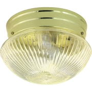 Satco Incandescent 2-Light Polished Brass Flush Mount with Clear Ribbed Glass Shades (STL-SAT762529)