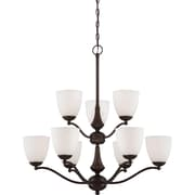 Satco Incandescent 9-Light Prairie Bronze Chandelier with Frosted Glass Shades (STL-SAT651397)