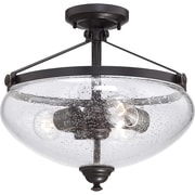 Satco Incandescent 3-Light Sudbury Bronze Semi-Flush Mount with Clear Seeded Glass Shades (STL-SAT655449)