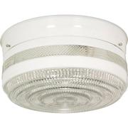 Satco Incandescent 2-Light White Flush Mount with White Drum Glass Shades (STL-SAT770999)