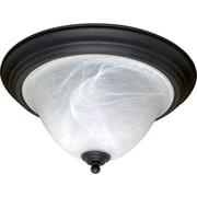 Satco Incandescent 2-Light Textured Black Flush Mount with Alabaster Swirl Glass Shades (STL-SAT603839)
