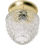 Satco Incandescent 1-Light Polished Brass Flush Mount with Clear Hobil Squat Ball Glass Shade (STL-SAT771255)