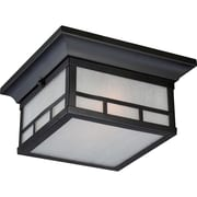 Satco Incandescent 2-Light Stone Black Flush Mount with Frosted Seed Glass Shades (STL-SAT656064)