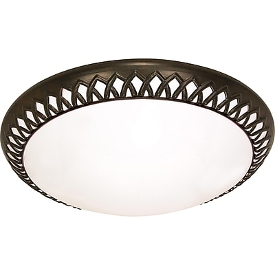Satco CFL 3-Light Old Bronze Flush Mount with White Plastic Shades (STL-SAT609251)