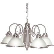 Satco Incandescent 5-Light Brushed Nickel Chandelier with Frosted Ribbed Glass Shades (STL-SAT766954)