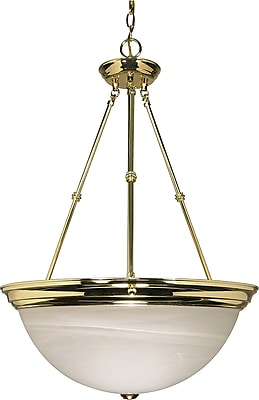 Satco Incandescent 3-Light Antique Brass Pendant with Clear Swirl Glass Shades (STL-SAT602207)