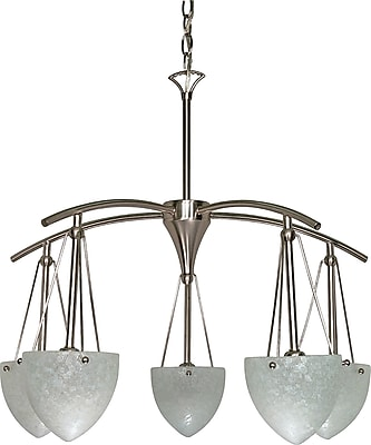 Satco Incandescent 5-Light Brushed Nickel Chandelier with Water Spot Glass Shades (STL-SAT601309)