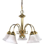 Satco Incandescent 5-Light Polished Brass Chandelier with Alabaster Bell Glass Shades (STL-SAT601859)