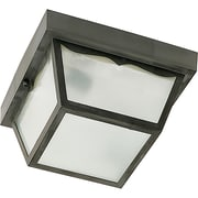 Satco Incandescent 1-Light Black Flush Mount with Frosted Acrylic Panels Aluminum Shade (STL-SAT778636)