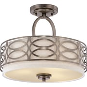 Satco Incandescent 3-Light Hazel Bronze Semi-Flush Mount with Khaki Fabric Shades (STL-SAT647291)