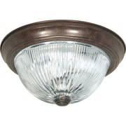 Satco Incandescent 3-Light Old Bronze Flush Mount with Clear Ribbed Glass Shades (STL-SAT766084)