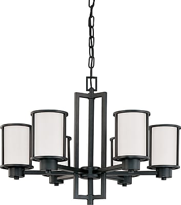 Satco Incandescent Odeon - 6 Light (convertible up/down) Chandelier with Satin White Glass (STL-SAT29754)