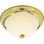 Satco Incandescent 2-Light Polished Brass Flush Mount with Frosted Ribbed Glass Shades (STL-SAT761300)