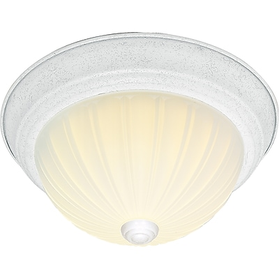 Satco Incandescent 2-Light Textured White Flush Mount with Frosted Melon Glass Shades (STL-SAT761270)