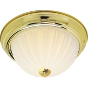 Satco Incandescent 3-Light Polished Brass Flush Mount with Frosted Melon Glass Shades (STL-SAT761287)