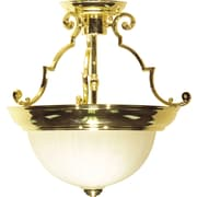 Satco Incandescent 2-Light Polished Brass Semi-Flush Mount with Frosted Melon Glass Shades (STL-SAT764349)