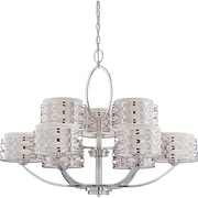 Satco Incandescent Harlow - 9 Light Chandelier with Slate Gray Fabric Shades (STL-SAT6463)
