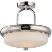 Satco LED 2-Light Polished Nickel Semi-Flush Mount with Etched Opal Glass Shades (STL-SAT324048)