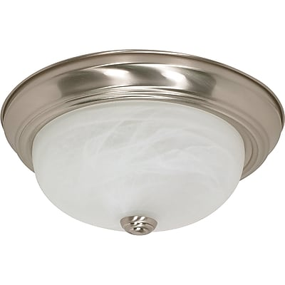 Satco Incandescent 2-Light Brushed Nickel Flush Mount with Alabaster Glass Shades (STL-SAT601989)