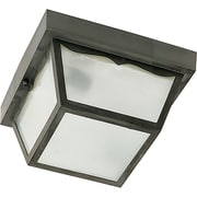 Satco Incandescent 1-Light Black Flush Mount with Frosted Acrylic Panels Aluminum Shade (STL-SAT778919)