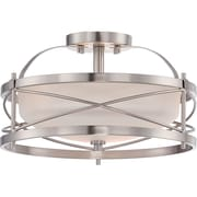 Satco Incandescent 2-Light Brushed Nickel Semi-Flush Mount with Etched Opal Glass Shades (STL-SAT653315)