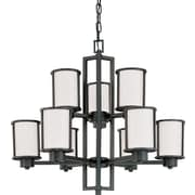 Satco Incandescent 9-Light Aged Bronze Chandelier with Satin White Glass Shades (STL-SAT629792)
