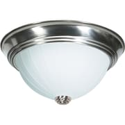 Satco Incandescent 3-Light Brushed Nickel Flush Mount with Frosted Melon Glass Shades (STL-SAT762451)