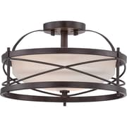 Satco Incandescent 2-Light Old Bronze Semi-Flush Mount with Etched Opal Glass Shades (STL-SAT653353)