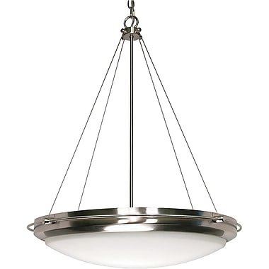 Satco Incandescent 1-Light Mahogany Bronze Pendant with Champagne Linen Shade (STL-SAT606106)