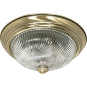 Satco Incandescent 2-Light Antique Brass Flush Mount with Clear Swirl Glass Shades (STL-SAT602306)
