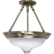 Satco Incandescent 2-Light Antique Brass Semi-Flush Mount with Frosted Swirl Glass Shades (STL-SAT602412)