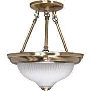 Satco Incandescent 2-Light Antique Brass Semi-Flush Mount with Frosted Swirl Glass Shades (STL-SAT602405)