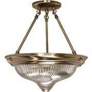 Satco Incandescent 2-Light Antique Brass Semi-Flush Mount with Clear Swirl Glass Shades (STL-SAT602337)