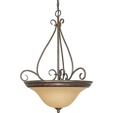 Satco Incandescent 1-Light Mahogany Bronze Pendant with Champagne Linen Shade (STL-SAT610288)